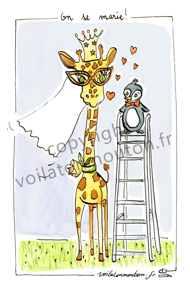 FA00057 Girafe et pingouin 2 couleurwatermark