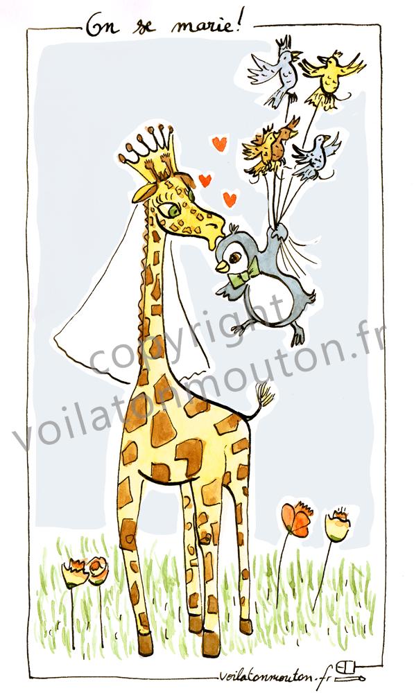 FA00057 Girafe se marie à un pinguin 2 couleur